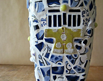 Broken China Blue Mosaic Vase, Pique Assiette, Upcycled Home Decor
