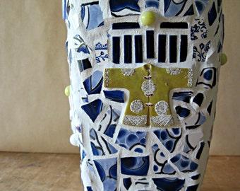Blue Mosaic Vase, Pique Assiette, Mosaic Vase, Mosaic Art, Flower Vase, Tall Vase, Upcycled Craft, Large Vase, Art Mosaic, Asian Vase