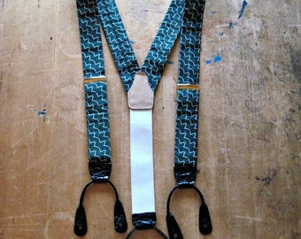 Vintage Suspenders, Silk Braces, Green and White Silk Suspenders, Vintage Braces, Preppy Accesories, Vintage Belts, Men's Accessories