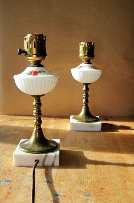 Vintage Milk Glass Lamp Table Lamps Brass Lamp Bronze