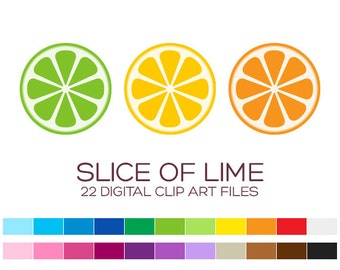 Slice Of Lime Clipart for Personal & Commercial Usage - 22 digital limes / 2.5x2.5 inches - A00109