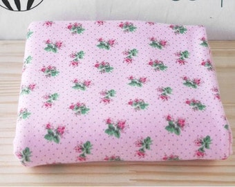 "Pink Rib Knit with Roses and Polka Dots - 54"" Wide - By the Yard - 0001"