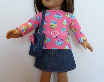 Pink cupcake  denim skirt set fits American girl 18 inch doll clothes