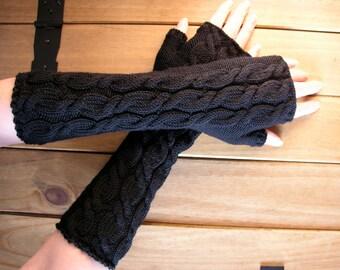 Black fingerless gloves wrist warmers long merino wool