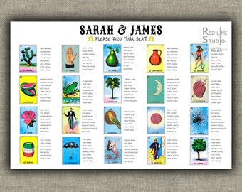 Mexican Loteria Wedding Seating Chart - printable