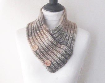 Brown neckwarmer, Brown scarf with buttons, Knitted cowl, Button scarf, uk scarves, Bandana scarf, woman's scarf, ladies scarf, Spring scarf