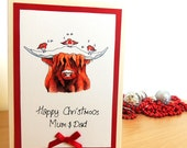 Personalised Handmade Christmas Carols Highland Cow Original Quirky Card. Watercolour Illustration and Handwritten customisation.