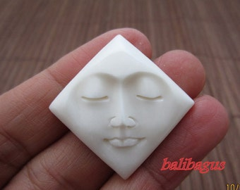 Balibagus, Hand Carved Diamond Shape Face Cabochon, Embellishment, Jewelry making Supplies  B4547