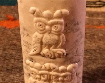 Vintage Hand Carved Owl Figurine with Hinged Lid