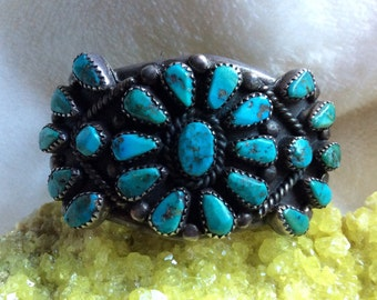 Breathtaking Vintage Dead Pawn Sterling Silver Turquoise Petit Point Cluster Cuff