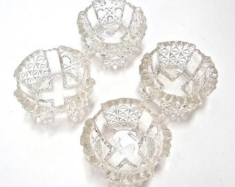 Vintage Crystal Salt Bowls - Set of 4