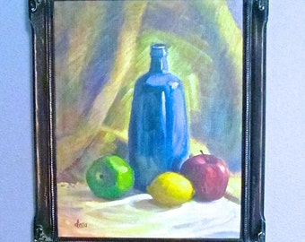 Original Still Life Hand-Painted, Mounted in Ornate Wood Frame, Traditional Home Mid Century