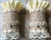Lacy Recycled Fabric Steampunk Lolita Cuffs