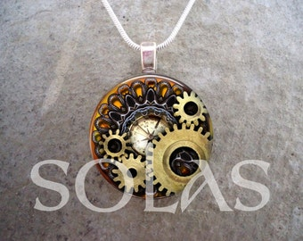 Steampunk Necklace - Glass Pendant Jewelry - Steampunk 1-6