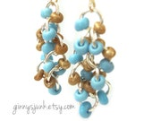 Seed Bead Earrings - Unique Earrings - Back to The Beach Blue and Gold Dust Colors