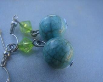 Turquoise & Green Bead Dangle Earrings 874.