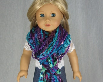 SKINNY STRING SCARF for American Girl Dolls - in deep purples and turquoise novelty yarn - Perfect for Fall - Free Shipping to United States
