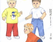 KS 3374 Sewing Pattern for Baby and Toddlers - Kwik Sew Pullover Shirts with Long Sleeves, Pull on Jeans with Fake Fly
