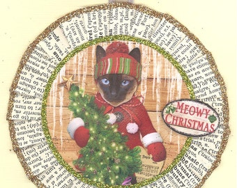 Siamese Cat Kitty Christmas Ornament Vintage Style