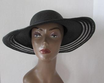 Vintage 70s Black Floppy Hat