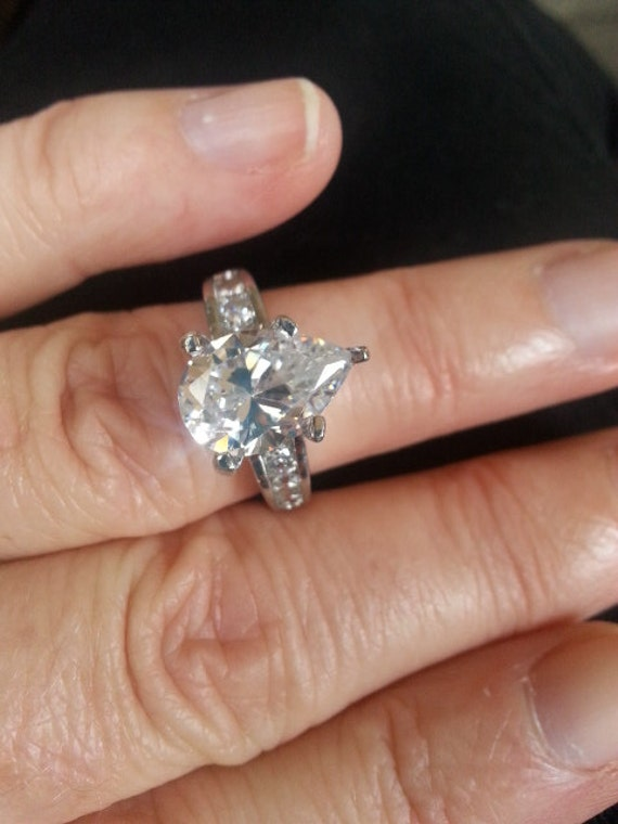 Vintage Pear Shaped Engagement Ring by Lifespirals on Etsy
