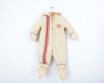 Vintage Snow Suit in Cream Navy and Red by Weather Tamer