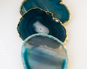 TEAL agate coasters. gem coasters. stone coasters. 4 coaster set. home decor. drinking coasters. housewarming gift.