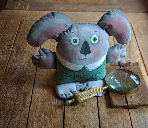 koala painted doll - soft sculpture. art doll.