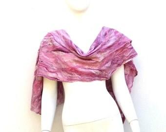 Gossamer Felt Silk and Australian Superfine Merino Wool Wrap Marsala