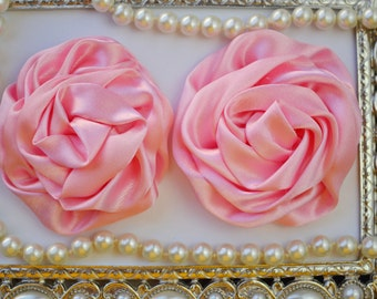 2 Large Satin Rolled PINK Rose/Rosettes- fabric flowers, satin flower, DIY headband supplies, accessory supplies