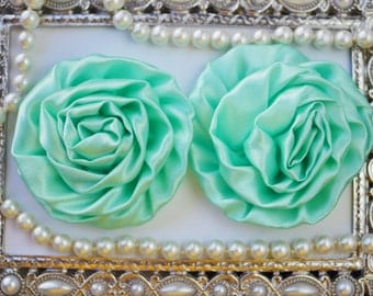 2 Large Satin Rolled SEA FOAM Rose/Rosettes- fabric flowers, satin flower, DIY headband supplies, accessory supplies