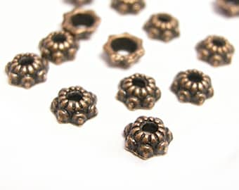 50PC 5mm antique copper finish metal bead caps-9601