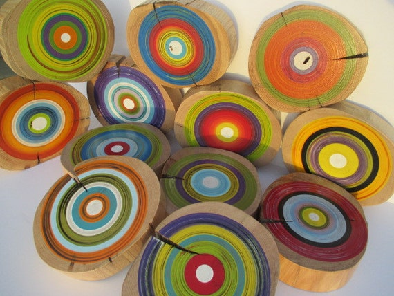 Hand Painted Wall Art from Reclaimed Wood - Midcentury Modern - Set of 12 (12WDRW1)