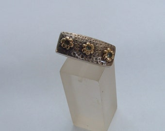 free shipping antique silver and gold ring with aqua marine stones art deco made in France circa 1930's free shipping