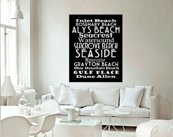 30A Beaches Subway Art Canvas - 30A Typography Canvas Gallery Wrap 11x14 -  Home Decor Wall Art 30A Beach House - Gifts for Him