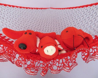 Crochet toy net hammock in red and light gray with fancy red and silver metallic ruffle trim, stuffed animal storage