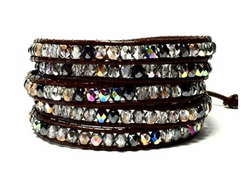 Leather Wrap Bracelet - Czech Fire Polished Beads- Dark Brown Leather - Bohemian Chic
