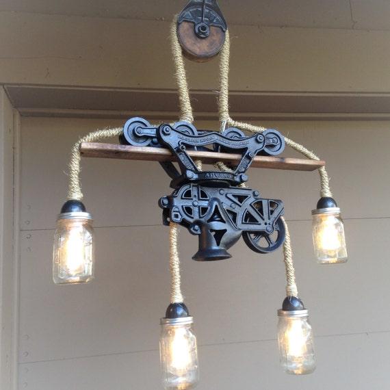 Steampunk Light Chandelier Hay Trolley Mason Jar