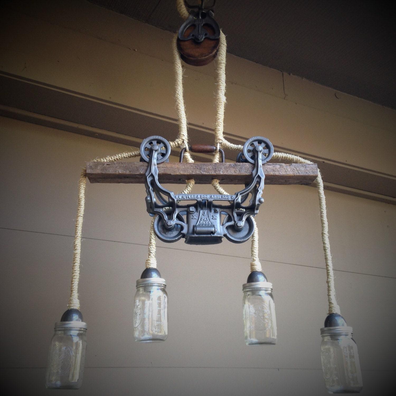 Mason jar lighting mason jar chandelier mason jar lamps lights - Industrial Rustic Light Chandelier Hay Trolley Barn Wood