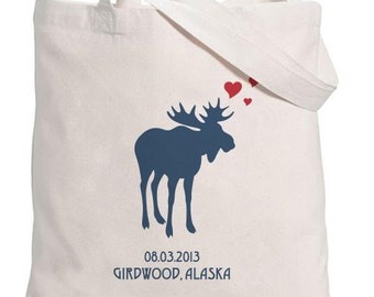 Moose silhouette with Hearts-Personalized with Date and Location