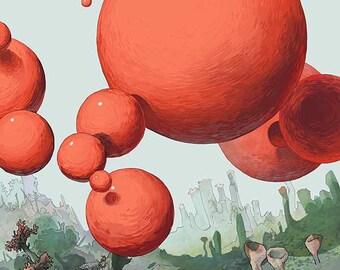Orange Sphere Original Illustration print