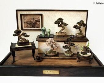 Bonsai Trees set, Vintage miniature Dollhouse 1/12 (BMS11)
