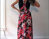 Vintage Floral Maxi Dress / Red Pink Black White Flowers / Party Dress / Retro Dress / 1970s