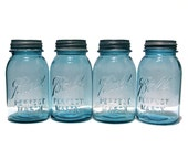 MASON JARS / Vintage BALL Jars / Aqua Blue Quarts with Lids / Set of 4 / Farmhouse Rustic Wedding / Cottage Chic / Kitchen / Bridal Decor
