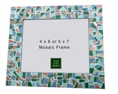 Picture Frame, Green, Gray, Metallic Copper, Mosaic  4 x 6 or 5 x 7