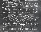 O Holy Night - lyrics - Vertical Print - Typography Art - Christmas - Full Lyrics or Shortened