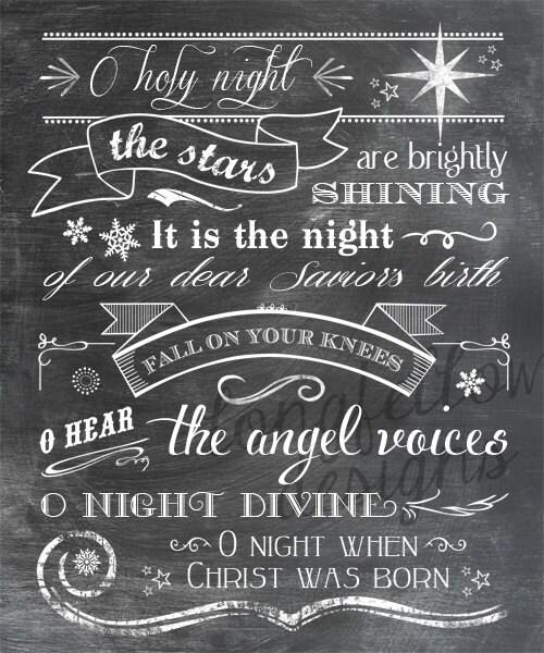 O Holy Night lyrics Vertical Print Typography Art