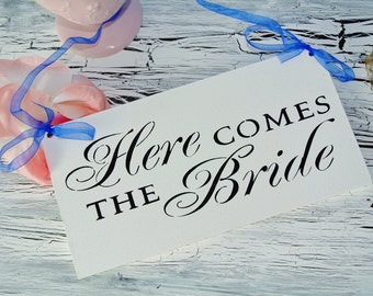 Royal Blue Wedding Sign, Here Comes The Bride, Wooden Sign, blue black white, bridal shower gift, hand painted