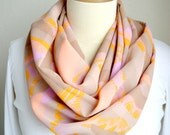 Infinity Scarf in orange pink and tan abstract print, Neck warmer, Women Accessory, Muffler, Mantilla, Stole, Tippet