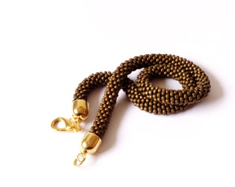 Bronze choker/Brown Necklace/ Vintage effect/Beaded Rope Jewelry/Short necklace/Crocheted accessories